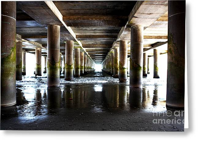 Steel Pier Greeting Cards - Under the Steel Pier Greeting Card by John Rizzuto