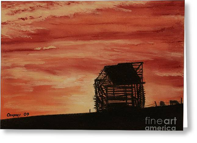 Red Buildings Pastels Greeting Cards - Under the Sunset Greeting Card by Stanza Widen