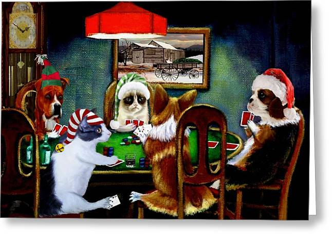 Four Aces Greeting Cards - Under the Table 2 Greeting Card by Ronald Chambers