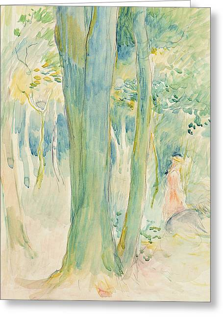 Morisot Canvas Greeting Cards - Under the trees in the wood Greeting Card by Berthe Morisot