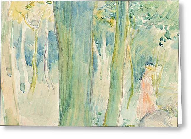 Under the trees in the wood Greeting Card by Berthe Morisot