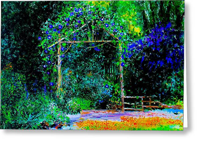 Trellis Greeting Cards - Under the Trellis Greeting Card by Lori Stamm