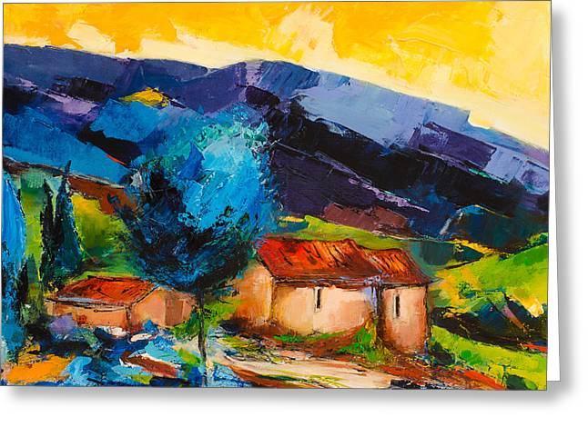 Nature Scene Paintings Greeting Cards - Under the Tuscan Sky Greeting Card by Elise Palmigiani