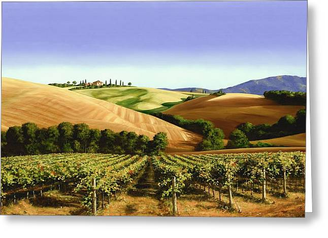 Grape Vines Paintings Greeting Cards - Under the Tuscan Sky Greeting Card by Michael Swanson