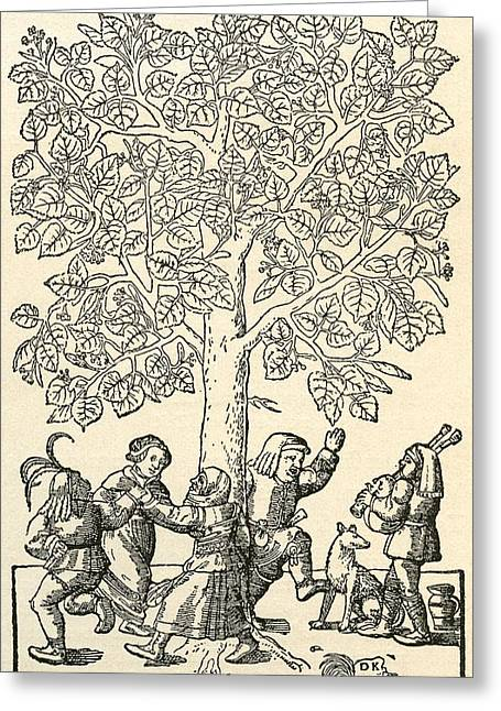 Folk Dancing Greeting Cards - Under The Village Linden Tree, After A 16th Century Engraving By  Kandel.  From Illustrierte Greeting Card by Bridgeman Images