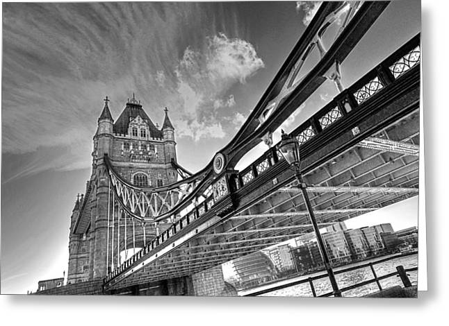 Famous Bridge Greeting Cards - Under Tower Bridge Black and White Greeting Card by Gill Billington