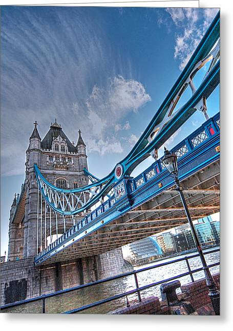 Famous Bridge Greeting Cards - Under Tower Bridge London Greeting Card by Gill Billington