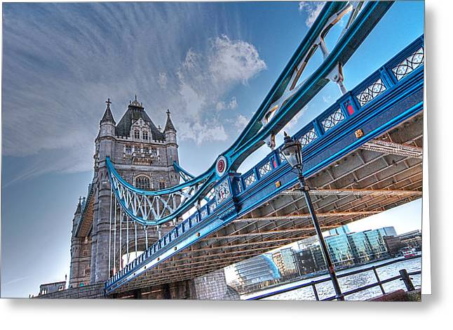 Old Home Place Greeting Cards - Under Tower Bridge London Greeting Card by Gill Billington