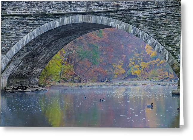 Wissahickon Creek Greeting Cards - Under Valley Green Bridge in Autumn Greeting Card by Bill Cannon