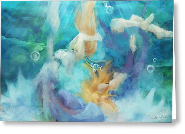 Floating Girl Greeting Cards - Under Greeting Card by Victor  Castillo