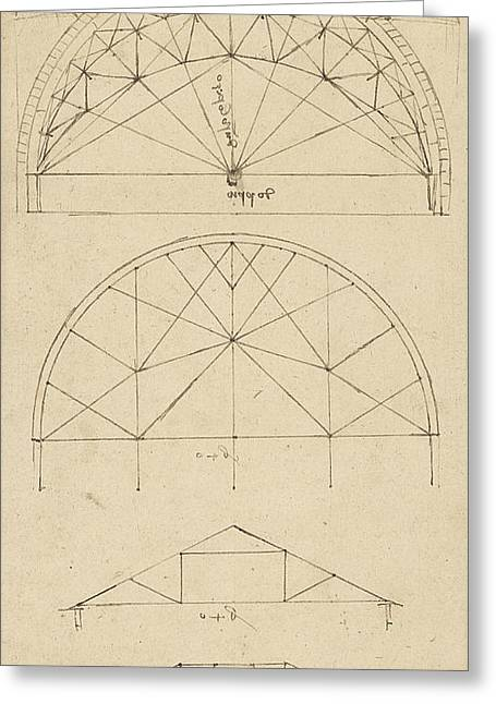Da Vinci Code Greeting Cards - Underdrawing for building temporary arch Greeting Card by Leonardo Da Vinci