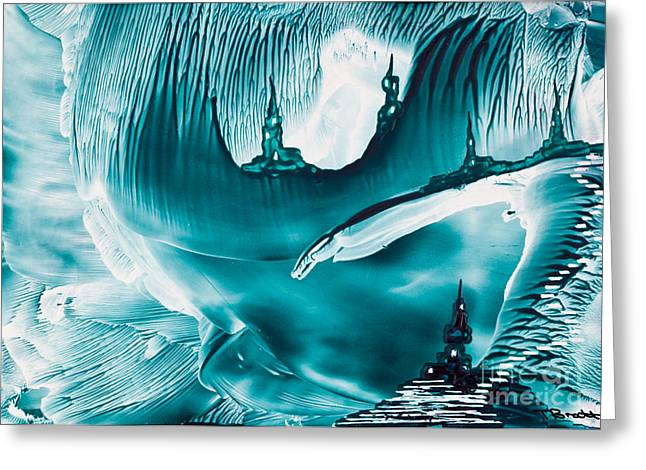 Scifi Paintings Greeting Cards - Underground fantasy castles Greeting Card by Simon Bratt Photography LRPS