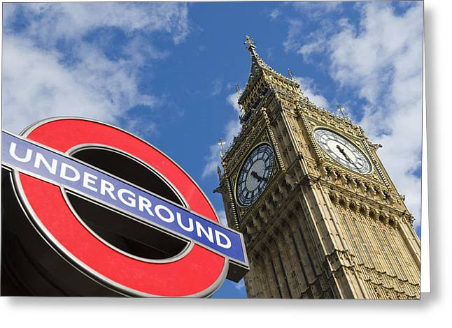 Londoners Greeting Cards - Underground Sign At Westminster Bridge Greeting Card by Tips Images