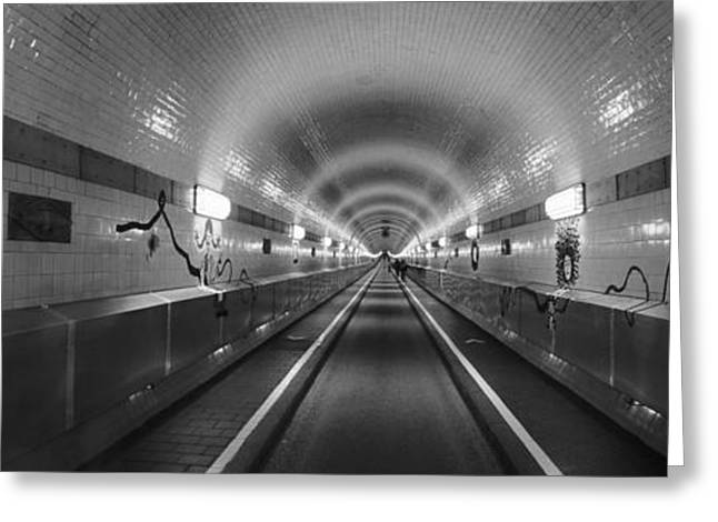 Light At The End Of The Tunnel Greeting Cards - Underground Walkway, Old Elbe Tunnel Greeting Card by Panoramic Images
