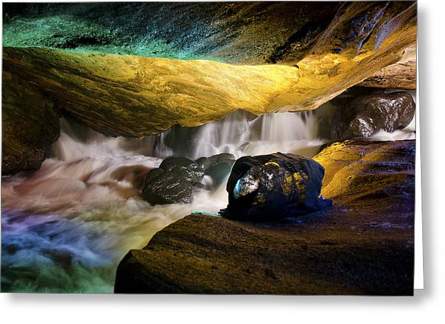 Water In Caves Greeting Cards - Underground waterfall 2 Greeting Card by Mark Papke