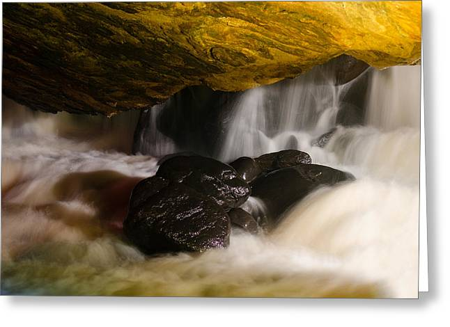 Water In Caves Greeting Cards - Underground waterfall Greeting Card by Mark Papke