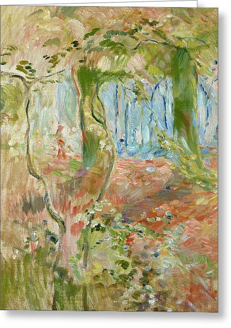 Morisot Canvas Greeting Cards - Undergrowth in Autumn Greeting Card by Berthe Morisot