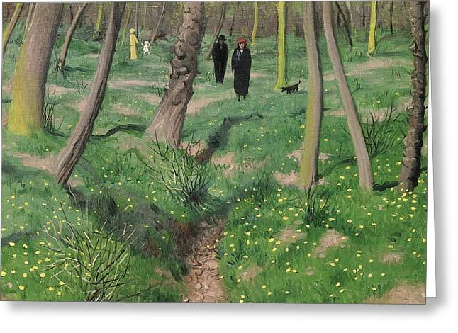Dog Walker Greeting Cards - Undergrowth in Spring Greeting Card by Felix Edouard Vallotton