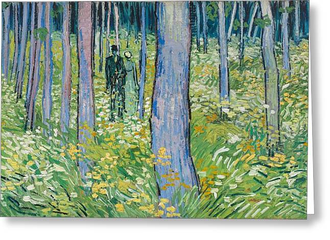 Post-impressionism Greeting Cards - Undergrowth With Two Figures, 1890 Oil On Canvas Greeting Card by Vincent van Gogh