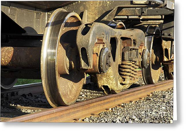 Axle Gear Greeting Cards - Underneath a freight train Greeting Card by Sylvie Bouchard