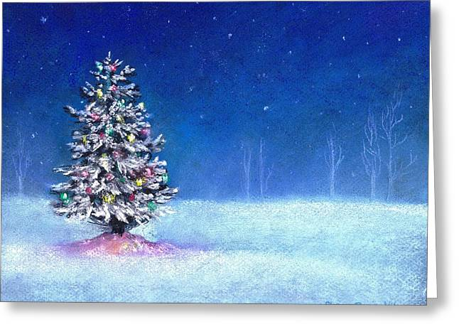 Snowy Night Drawings Greeting Cards - Underneath December Stars Greeting Card by Shana Rowe