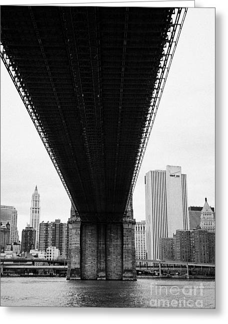 Manhatan Greeting Cards - underneath the Brooklyn Bridge new york city Greeting Card by Joe Fox