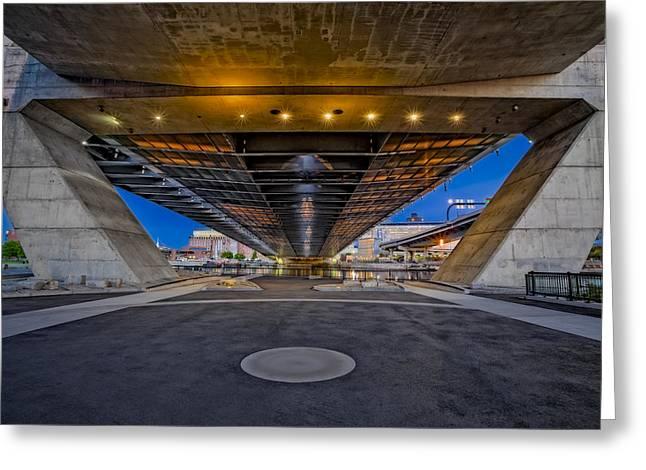 Underneath The Zakim Bridge Greeting Card by Susan Candelario