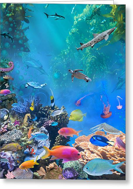 Undersea Greeting Cards - Undersea Hidden Objects Greeting Card by Alixandra Mullins