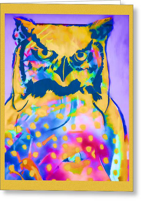 Psychedelic Photographs Greeting Cards - Understated Owl Greeting Card by Carol Leigh