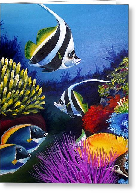 Fish Framed Prints Mixed Media Greeting Cards - Underwater-3 Greeting Card by Naushad  Waheed