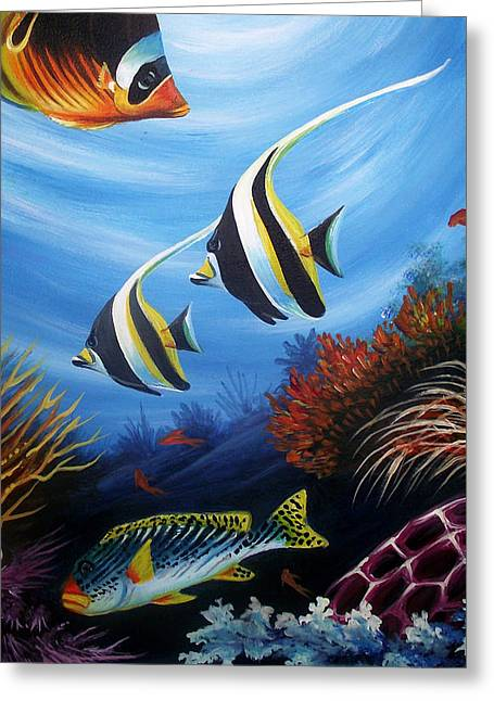 Fish Framed Prints Mixed Media Greeting Cards - Underwater-4 Greeting Card by Naushad  Waheed