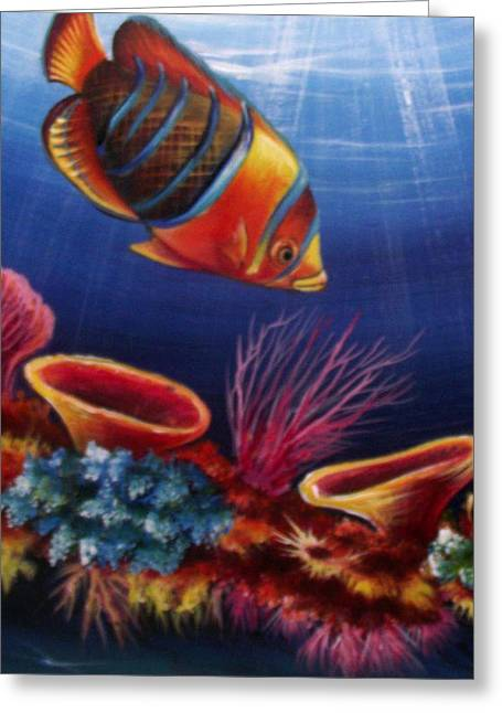 Fish Framed Prints Mixed Media Greeting Cards - Underwater-5 Greeting Card by Naushad  Waheed