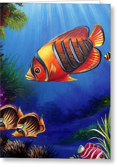 Fish Framed Prints Mixed Media Greeting Cards - Underwater-6 Greeting Card by Naushad  Waheed