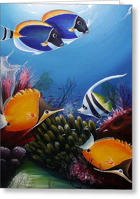 Fish Framed Prints Mixed Media Greeting Cards - Underwater-7 Greeting Card by Naushad  Waheed