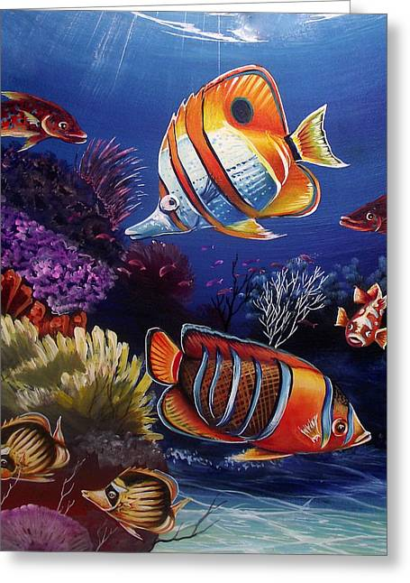 Fish Framed Prints Mixed Media Greeting Cards - Underwater-8 Greeting Card by Naushad  Waheed