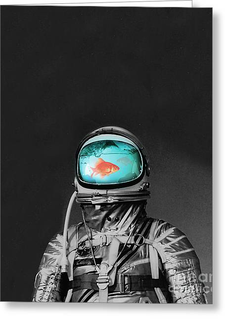 Collages Greeting Cards - Underwater astronaut Greeting Card by Budi Kwan