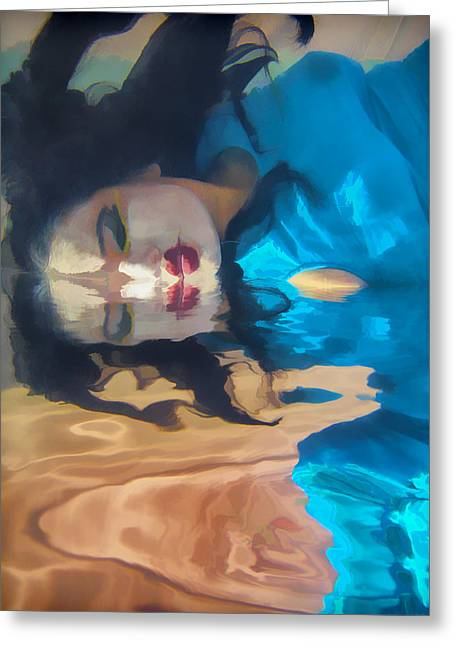 Painterly Greeting Cards - Underwater Geisha Abstract 1 Greeting Card by Scott Campbell