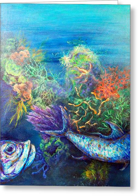 Park Scene Mixed Media Greeting Cards - Jesus Reef  Greeting Card by Ashley Kujan