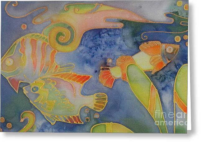 Marine Fish Tapestries - Textiles Greeting Cards - Underwater Life 2 Greeting Card by Ruta Naujokiene