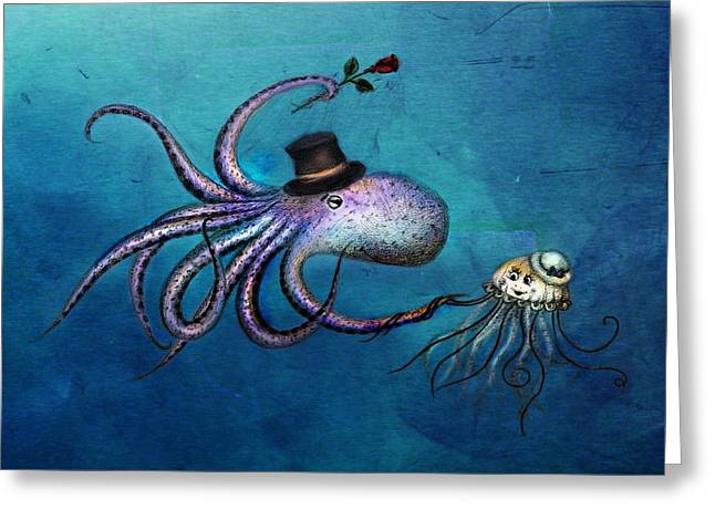Jelly Fish Greeting Cards - Underwater Love  octopus jellyfish Greeting Card by Anna Shell