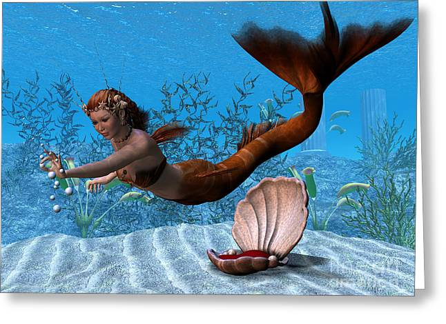 Seductress Greeting Cards - Underwater Mermaid Greeting Card by Corey Ford