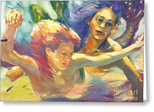 Sister Framed Prints Greeting Cards - Underwater Mermaids  Greeting Card by Isa Maria