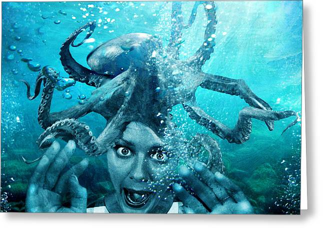 Underwater Photos Mixed Media Greeting Cards - Underwater Nightmare Greeting Card by Marian Voicu