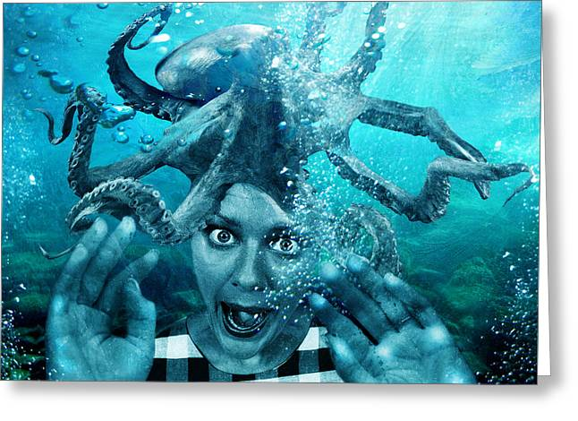 Marine Animal Greeting Cards - Underwater Nightmare Greeting Card by Marian Voicu