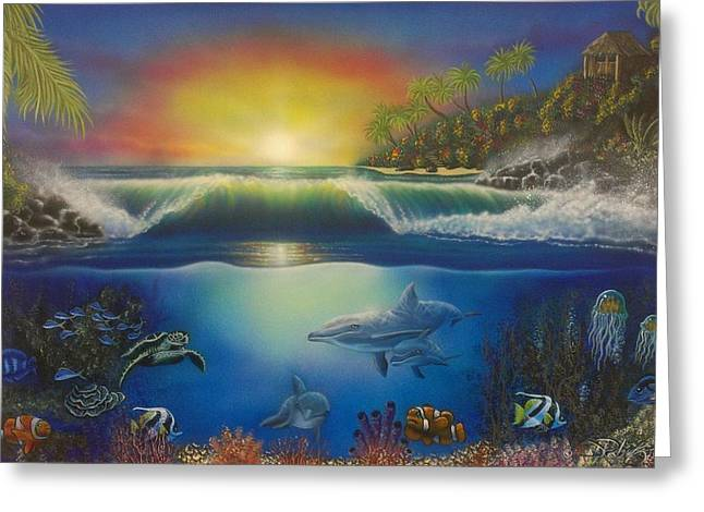 Angel Blues Greeting Cards - Underwater Paradise Greeting Card by Darren Robinson