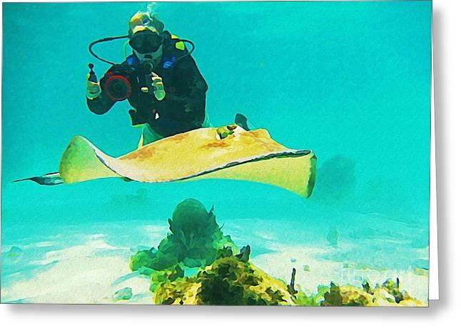 Underwater Photographer And Stingray Greeting Card by John Malone Halifax Artist