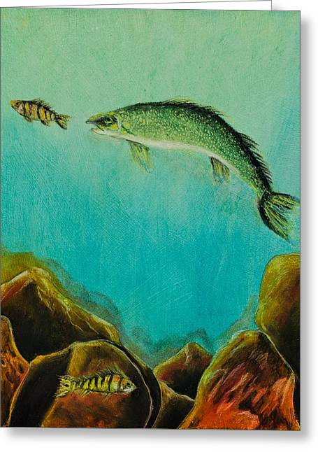 Sea Animals Greeting Cards - Underwater Predators Panel 1 Greeting Card by Jeanne Fischer