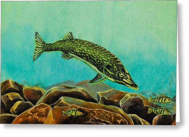 Sea Animals Greeting Cards - Underwater Predators Panel 2  Greeting Card by Jeanne Fischer