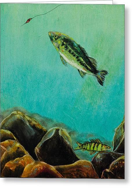 Seen Pastels Greeting Cards - Underwater Predators Panel 3 Greeting Card by Jeanne Fischer