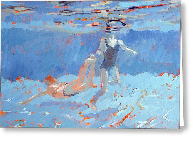 Scuba Diving Paintings Greeting Cards - Underwater  Greeting Card by Sarah Butterfield